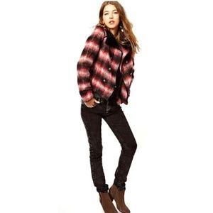 Free People Plaid Wool Blend Jacket size L